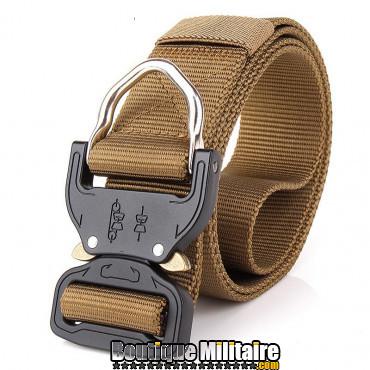 Ceinture de combat militaire • Boucle Tacticale mousqueton • 125cm Unie Kaki