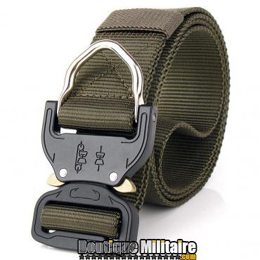 Ceinture de combat militaire • Boucle Tacticale mousqueton • 125cm Unie Vert Armée