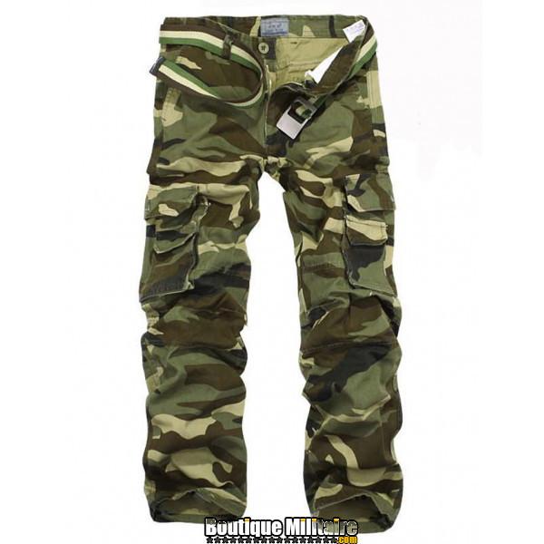 Pantalon Treillis Camouflage Militaire Coton • Camo Vert Armée