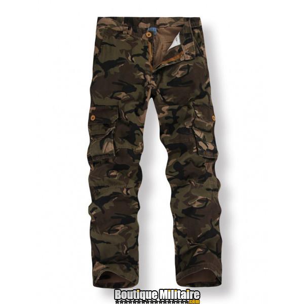 Pantalon Treillis Camouflage Militaire Coton • Camo Marron