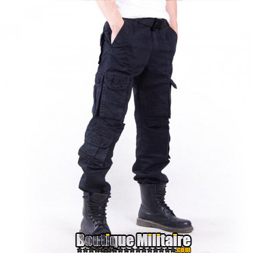 Pantalons Treillis Cargo Militaire Cotton • Unie Noir