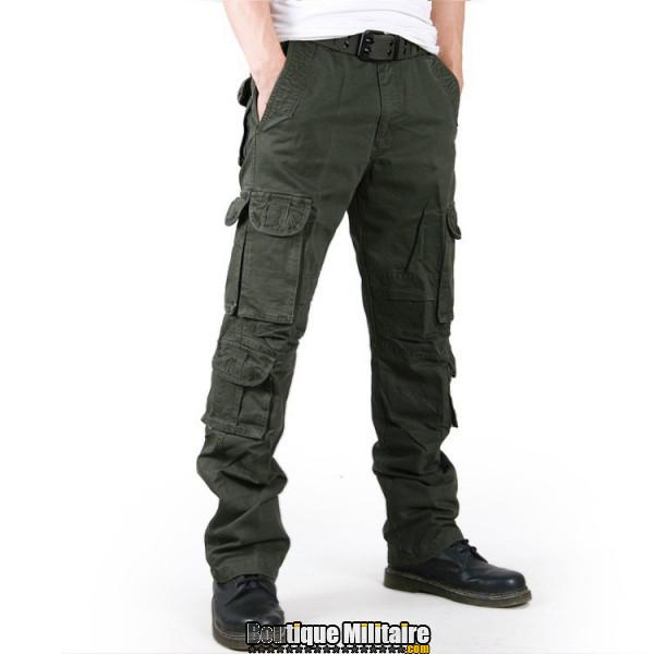 Pantalons Treillis Cargo Militaire Cotton • Unie Vert Armée