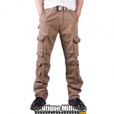 Pantalons Treillis Cargo Militaire Cotton • Unie Kaki