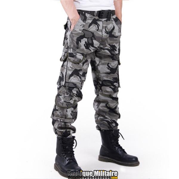 Pantalon Treillis Cargo Camouflage Militaire Coton • Camo Gris
