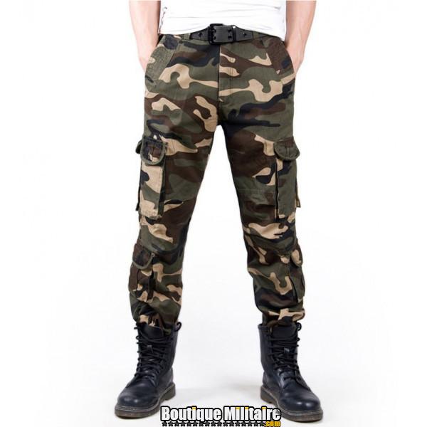 Pantalon Treillis Cargo Camouflage Militaire Coton • Camo Vert