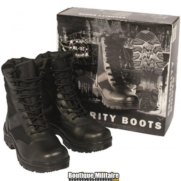 Chaussures d'Interventions Miltec Swat Boots Cuir et Cordura Noir