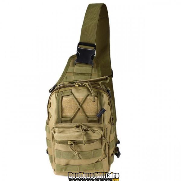 Sac militaire d'épaule monosangle 600D • 30x22x5cm • Vert Kaki