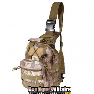 Sac militaire d'épaule monosangle 600D • 30x22x5cm • Camouflage Serpent Vert