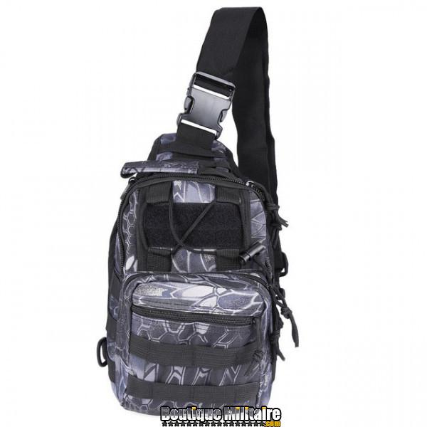 Sac militaire d'épaule monosangle 600D • 30x22x5cm • Camouflage Serpent Noir