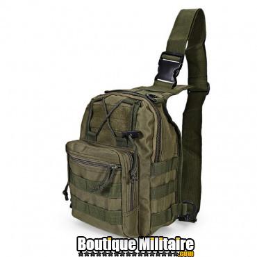 Sac militaire d'épaule monosangle 600D • 30x22x5cm • Vert armée