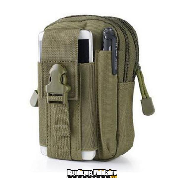 Pochette de ceinture militaire • 17x12x6 cm • Vert armée
