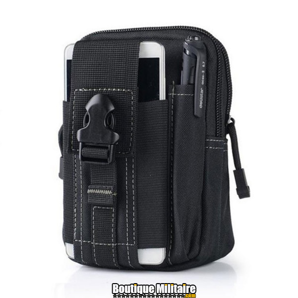 Pochette de ceinture militaire • 17x12x6 cm • Noir Uni