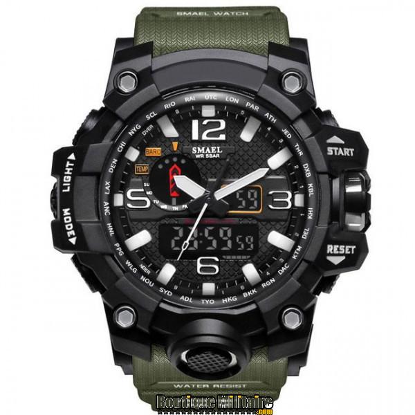 Montre militaire étanche double affichages • Cadran Noir • Bracelet Vert Kaki