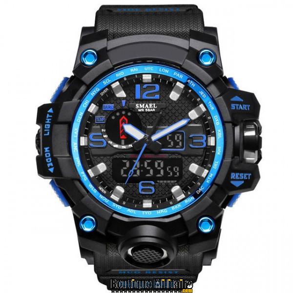 Montre militaire étanche double affichages • Cadran Bleu • Bracelet Noir