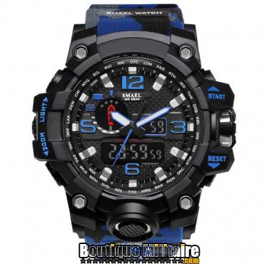 Montre militaire étanche double affichages • Cadran Noir • Bracelet Camo bleu