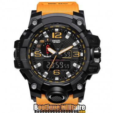 Montre militaire étanche double affichages • Cadran Noir • Bracelet Orange