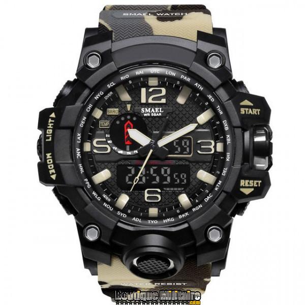 Montre militaire étanche double affichages • Cadran Noir • Bracelet Camo Désert