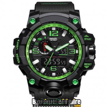 Montre militaire étanche double affichages • Cadran Vert • Bracelet Noir