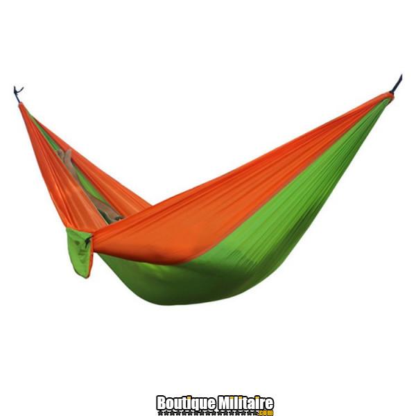 Hamac en toile de parachute 210T • 2 personnes • 270x140 cm • Orange et Vert