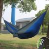 Hamac en toile de parachute 210T • 2 personnes • 270x140 cm • Bleu foncé et Gris