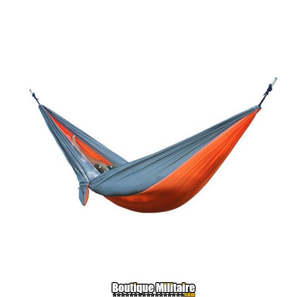 Hamac en toile de parachute 210T • 2 personnes • 270x140 cm • Orange et Gris