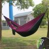 Hamac en toile de parachute 210T • 2 personnes • 270x140 cm • Violet et Gris