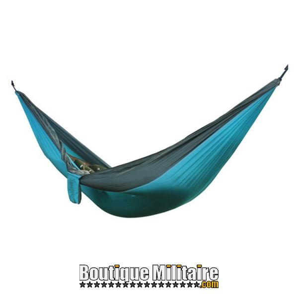 Hamac en toile de parachute 210T • 2 personnes • 270x140 cm • Bleu claire et Gris