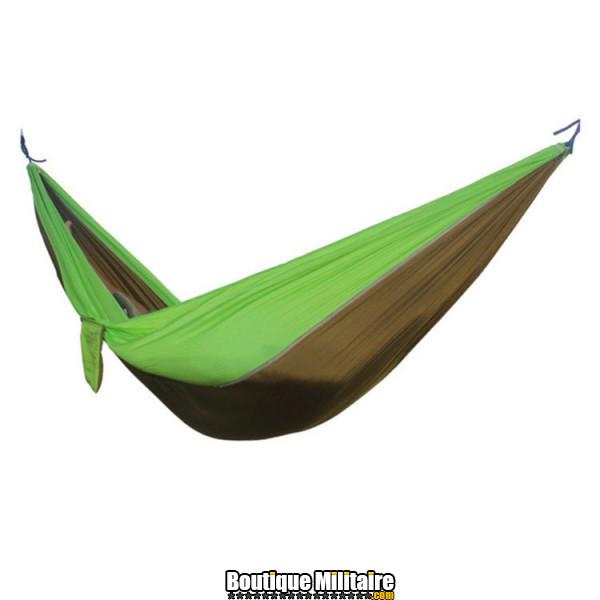 Hamac en toile de parachute 210T • 2 personnes • 270x140 cm • Marron et vert claire