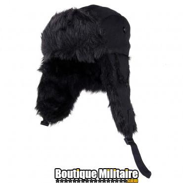 Bonnet en toile et fourrure
