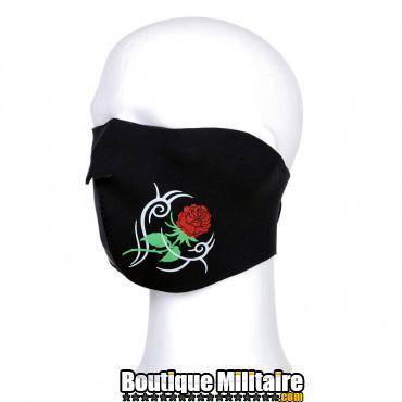 Demi masque motard, avec rose
