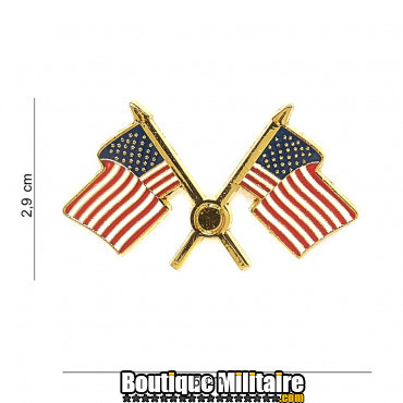 Badge - USA flag crossed 7078