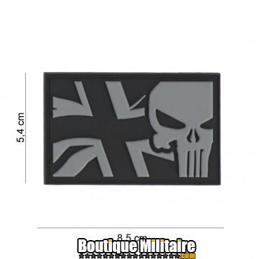 Patch 3D PVC Punisher UK flag grey 8084