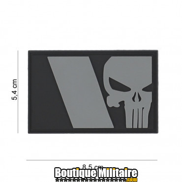 Patch 3D PVC Punisher French flag grey 8085