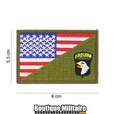 Patch en tissus 101st Airborne half flag 20011