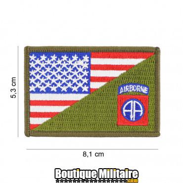 Patch en tissus 82nd Airborne half flag 20012