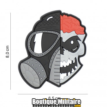 Patch 3D PVC skull with brains and gasmask 8136